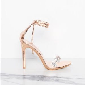 Shoes - ❣️ Rose Gold Jewelled Clear Lace Up Heels
